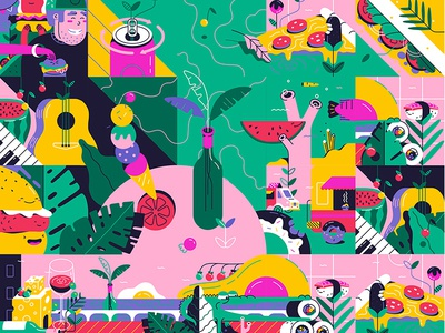 Modular Illo for Bocao Food Fest
