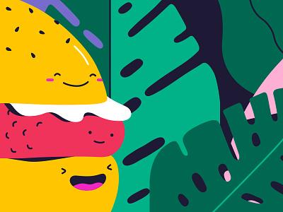 Bun Buds geometric pattern design art illustration food burger fun bright flat vector