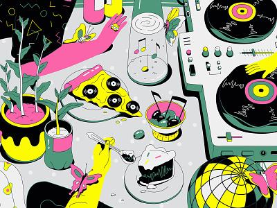 Illustration compilation picnic festival neon party music food illustrator fun illustration vector
