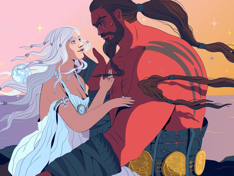 Drogo & Daenerys editorial art editorial character creation huffpost game of trones fan art fanart character illustration vector