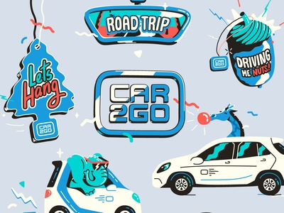 Car2gp Giphy Stickers flat character art animation fun car2go graphic vector illustration ride car giphy gif sticker loop