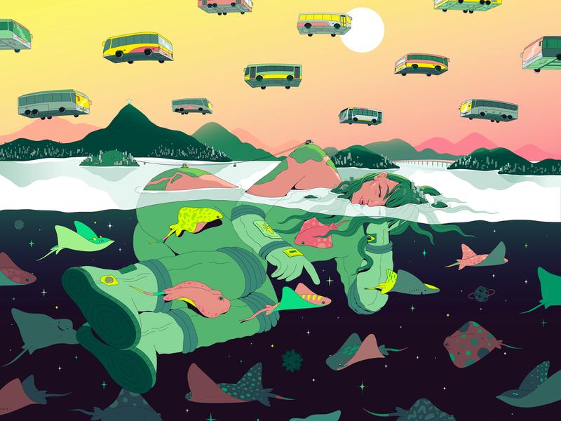 Dreaming of Rio dream summer sunset underwater universe artist art imagination brasil rio de janeiro surrealism surreal illustrator bright illustration vector