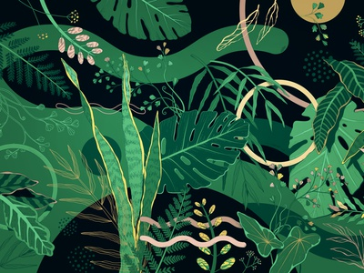 Branding Illustration gold green foliage monstera geometric leaves nature fun branding illustrator art flat illustration vector
