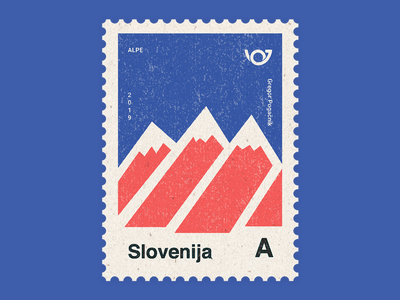Slovenia - Country of 4 landscapes stamp collection: Alps post stamp poster icon retro illustration typogaphy geometric colorful graphic design design