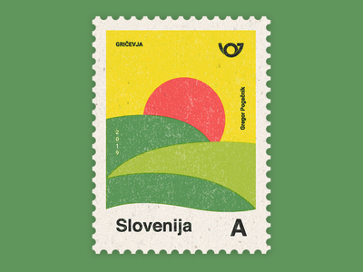 Slovenia - Country of 4 landscapes stamp collection: Hills stamp retro illustration typogaphy geometric colorful graphic design design