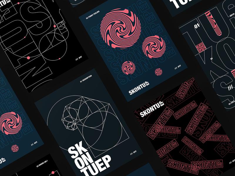 Ayit Skontu EP posters music branding dark geometric typogaphy poster design graphic design
