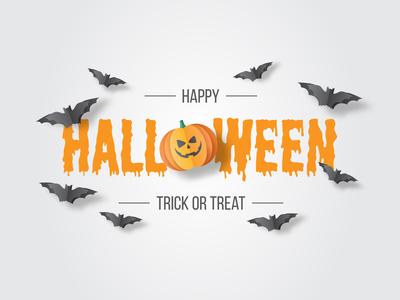 Happy Hallowen Paper Cut Vector