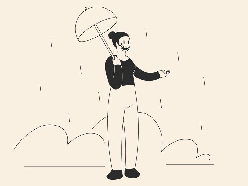 rain day black abstract 50s vintage illustrator graphic character design illustration adobe