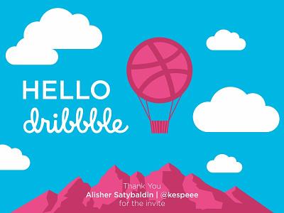 Hello Dribbble flat typography identity branding agency ai vector ps hello dribbble first draft packaging logotype logo branding designers design debutshot debut