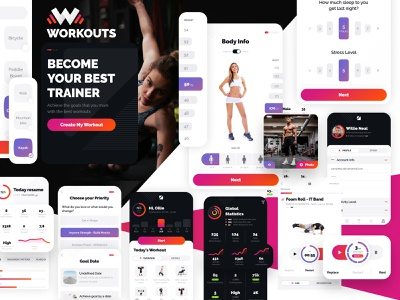 Workouts ui uxui flat brand branding ux sports trainers trainee training gym app design workout