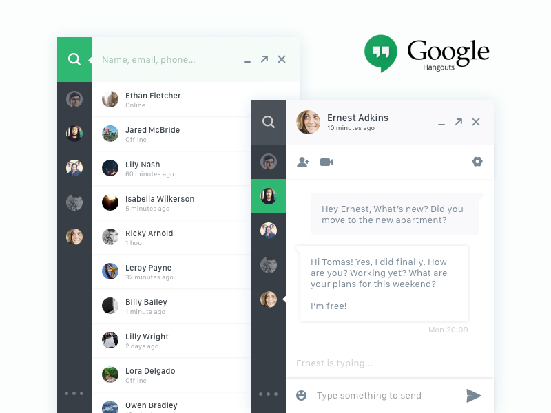 Direct Messaging - Chatbox :: Daily UI challenge #013 chrome app ui flat dailyui chatbox google hangouts