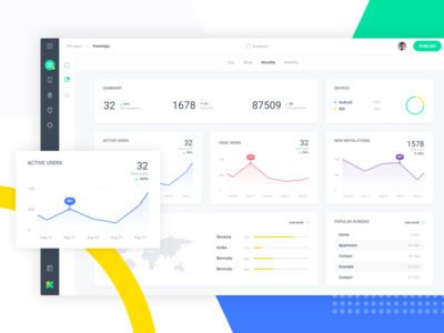 Dashboard Analytic daily ui flat admin panel app builder analytic dashboard