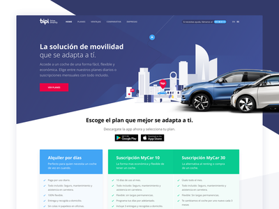 Bipicar - New web cars website landing web ux ui