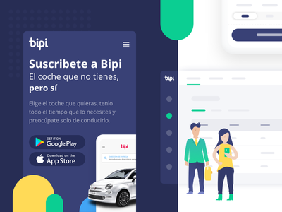Bipicar - web v2 renting bipi website ux uidesign ui landing cars