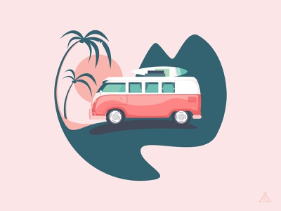 Van tour ipad illustration affinity designer illustration flat illustration campervan camper camping camping van flatdesign flat california vw van