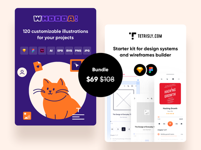 Tetrisly + Whoooa! bundle app web ui illustration dashboard interface design system components atomic design ui kit vector illustrations bundles bundle