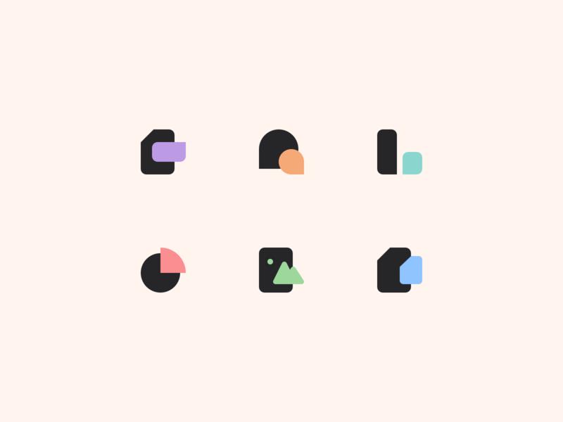 Products' Logos pastel ecosystem ui icon vector branding logo design illustration interface