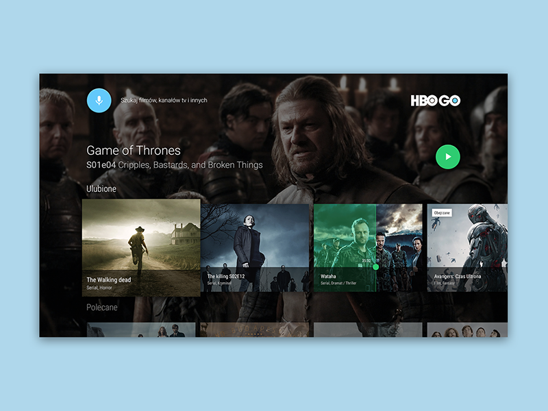 Hbo Go android tv concept tv android design material mialszygrosz