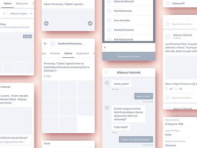 Wireframes for mobile app web ux ui post mialszygrosz interface social mobile dashboard autentika app