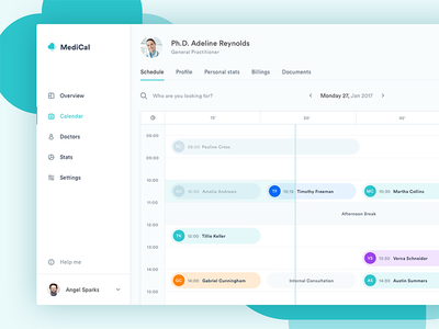 MediCal Schedule ux ui stats mialszygrosz interface dashboard calendar autentika