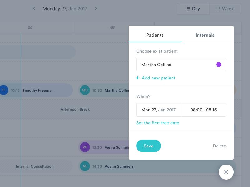 MediCal Add Patient form ux ui stats mialszygrosz interface dashboard calendar autentika