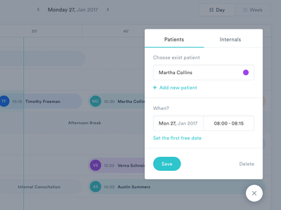 MediCal Add Patient form ux ui stats mialszygrosz interface dashboard calendar autentika