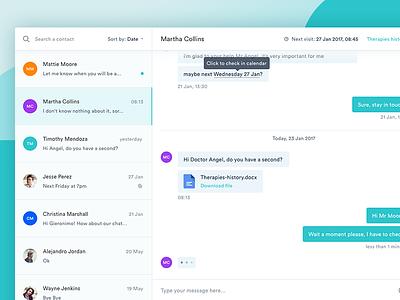 MediCal Conversation View ux ui stats mialszygrosz interface conversation message dashboard autentika