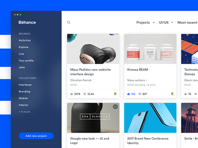 Behance Redesign - Explore ux ui redesign mialszygrosz behance interface dashboard fluent autentika