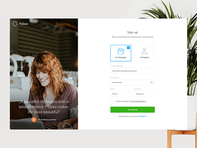 Psikea Sign-in/Sign-up process ux ui signin start mialszygrosz login interface form dashboard