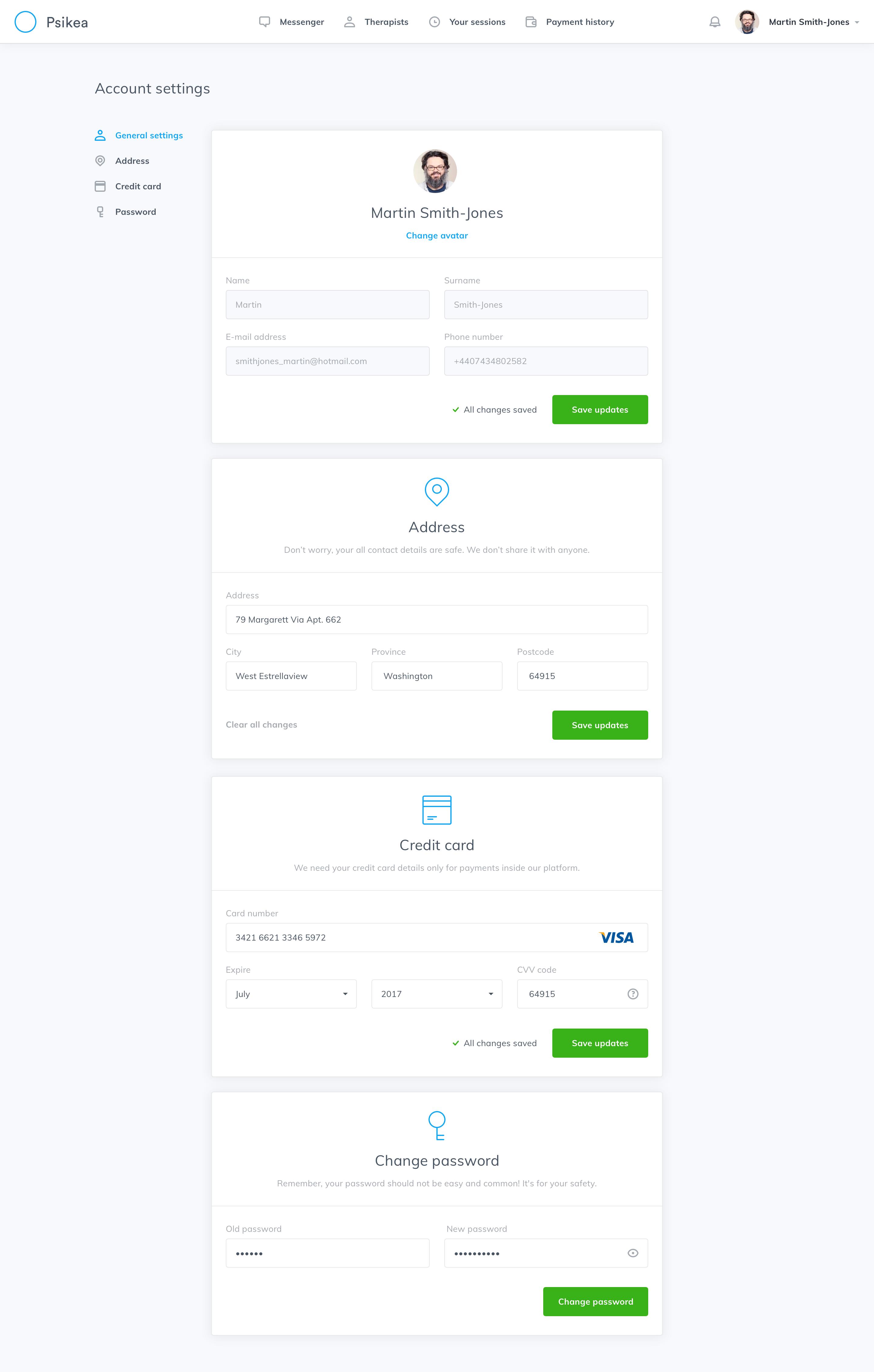 Account setting user