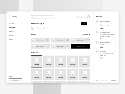 Tetrisly.com - Example of use - File manager wireframe system files file firms form sketch components design system atomic design atomic web app dashboard interface