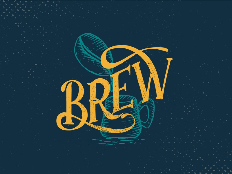 Brew Typography hand lettering vintage retro typogaphy coffee bean coffee cafe logo vector illustration branding logo