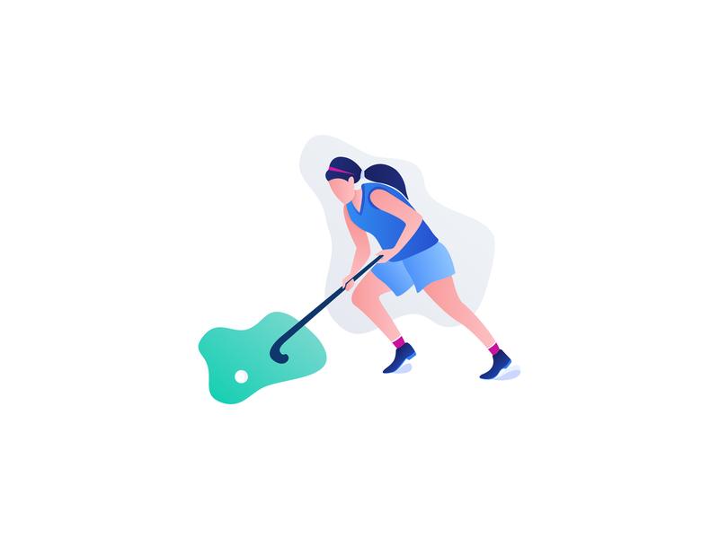Hockey Player Illustration sports design lady sports hockey stick hockey illustration graphic  design