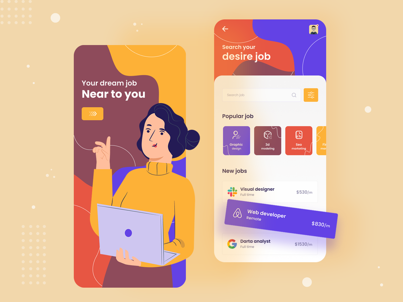 Job finder app design minimal typography color all illustraion job portal job app ui ux app ux app ui ux design ui design ui  ux ui mobile app design mobile app mobile ui mobile app 2020 trend