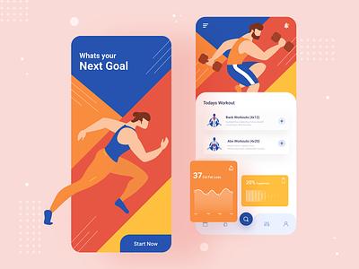 Fitness Plan App ui  ux ui design ui typography mobile ui mobile app design mobile app mobile gym workout fitness app fitness illustraion color app ux app ui ux app ui app all 2020 trend