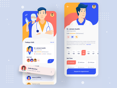 Doctor Appointment uidesign ui ux ui medical ios app healthcare doctor profile doctor appointments consultation typography colour app ux app ui ux app ui app illustration mobile all 2020 trend