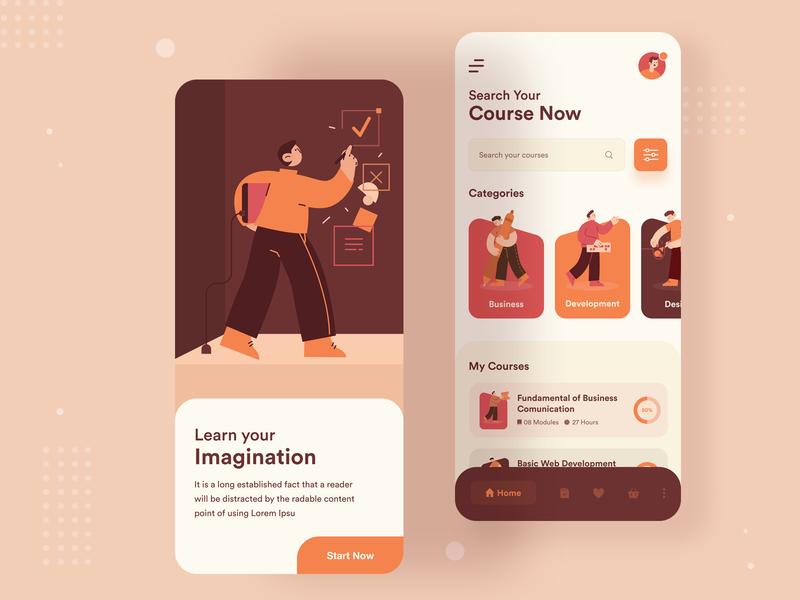 E-learning App best design uiux designer uidesign ui typography mobile ios app illustration colour app ux app ui ux app ui online study e-learning study app all 2020 trend