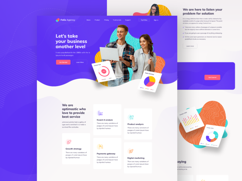 Folix - Agency Landing Page typography mobile app mockup design 2020 trend gradient color user experience userinterface uiux uxdesign uidesign ux ui agency website agency landingpage website web design all