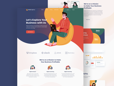 Marketing Agency Landing Page webdesign ui design webapp marketing agency user experience userinterface color uidesign web mobile all 2020 trend illustration best design ui  ux ui typogaphy layout web design