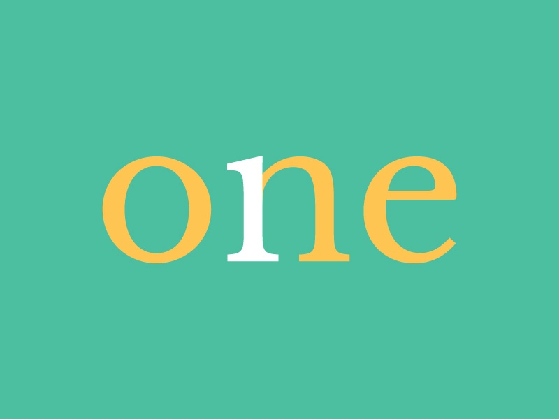 One colorful number one number 1 number design sleek type typography