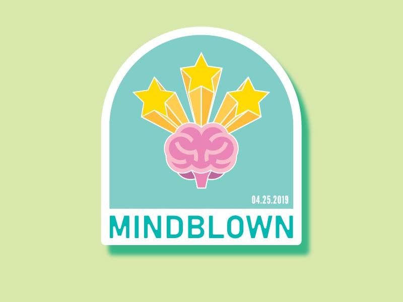 Miindblown award achievement sticker patch abstract feeling emotion stars brain badge illustration icon