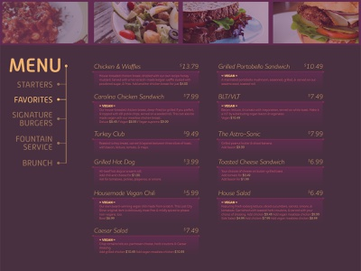 Menu space age retro sci-fi ui website food menu restaurant cafe typography sleek modern