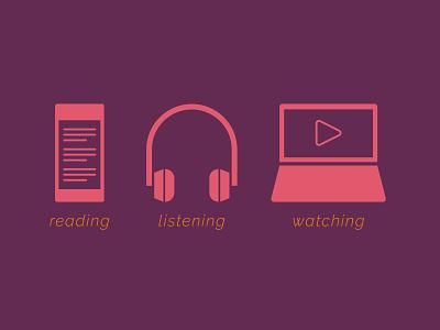 Icons icon design reading video symbols music iconography phone computer headphones icons icon modern