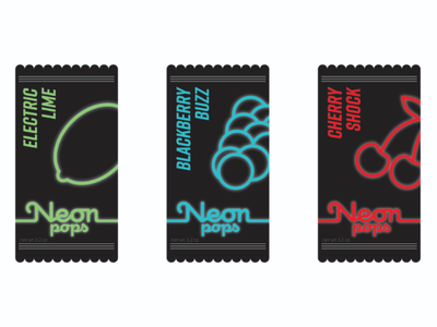 Neon pops food minimalist logotype branding glow electric ice cream packaging package logo neon popsicle