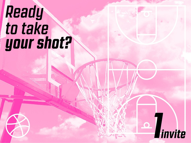 Dribbble Invite invite giveaway basketball court line art court athletic monochrome photo manipulation sports icon basketball invite design invite