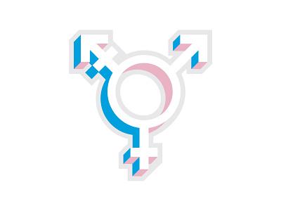 Transgender symbol sticker icon isometric gender pride flag pride queer symbol transgender trans lgbtq