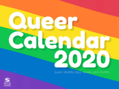 Queer Calendar 2020 cover round type campaign happy kickstarter cover playful rainbow lgbtq 2020 calendar queer