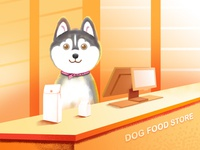 Dog food store-Husky illustration