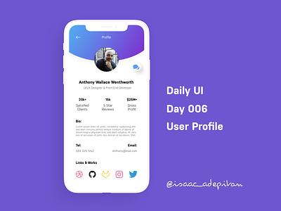 User Profile - Day 006 Daily UI Challenge dailyui 006 dailyui006 minimalist mobile daily ui daily 100 challenge app design ui minimalism minimal ui design design