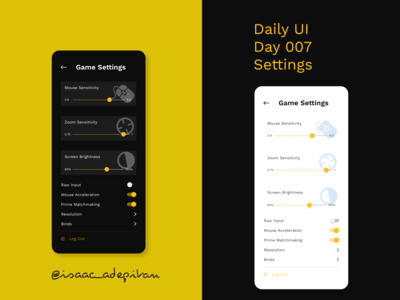 Settings - Day 007 Daily UI Challenge